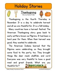 Reading Comprehension Worksheet - Thanksgiving