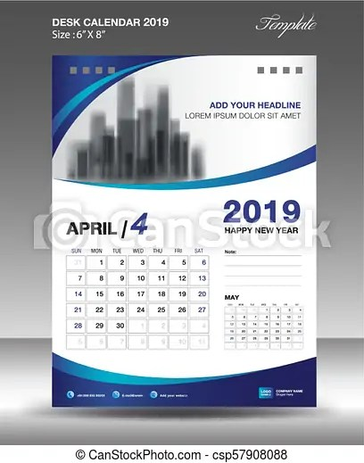 April desk calendar 2019 template flyer design vector