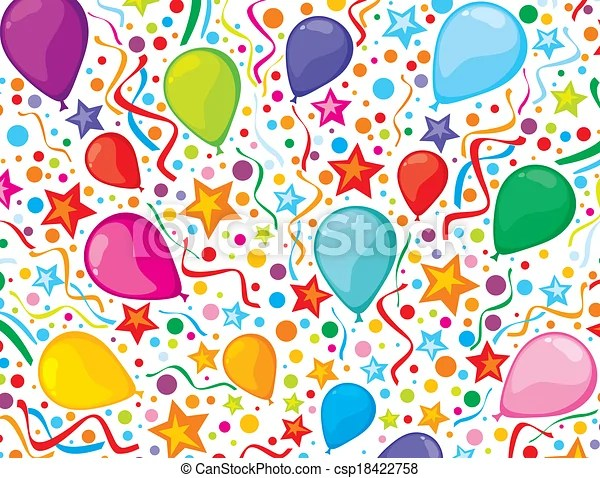 Birthday background with party streamers and confetti (colorful