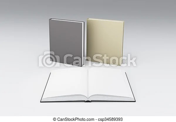 Blank white pages of opened book in front two others, mock up - opened book