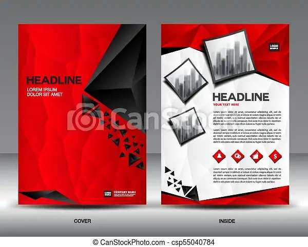 Business brochure flyer template vector illustration,red cover