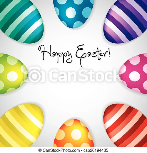 Circle of easter eggs border in vector format vectors - Search Clip