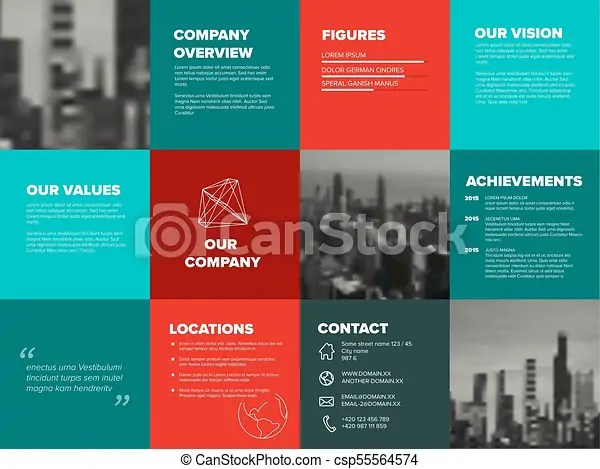 Company profile template - corporation main information vectors