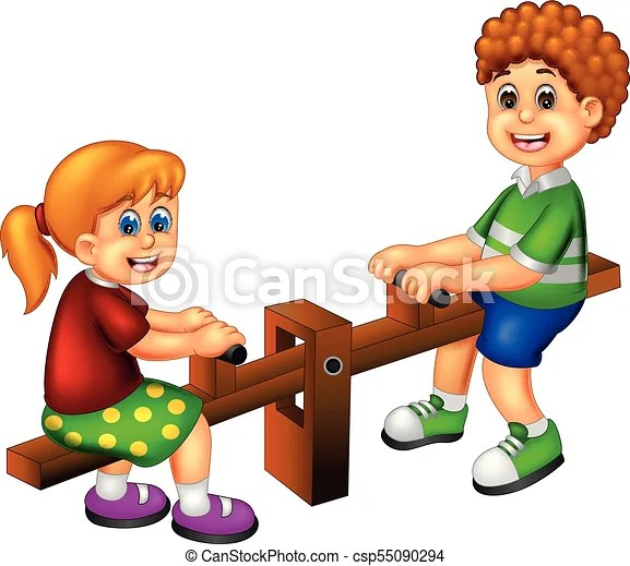 Vector illustration of cute children cartoon play see saw with laughing - cartoon children play