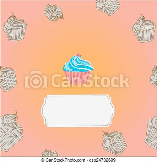 Dessert menu template with cupcakes and frames vector