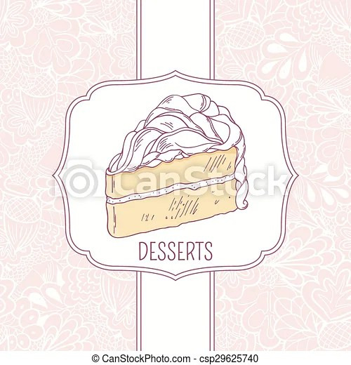 Dessert menu template with sweet cake and doodle pattern in vector