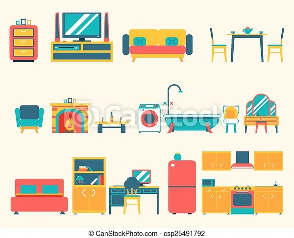 Furniture House Interior Icons And Symbols Set Living Room