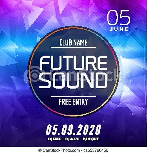 Future sound music party template, dance party flyer, clipart - music brochure