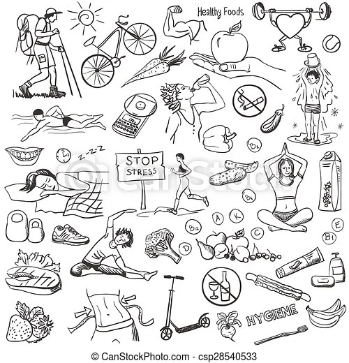 Hand drawn about healthy lifestyle on white background sketches - background sketches