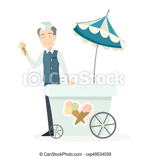 Ice cream man isolated character with cart selling ice vectors