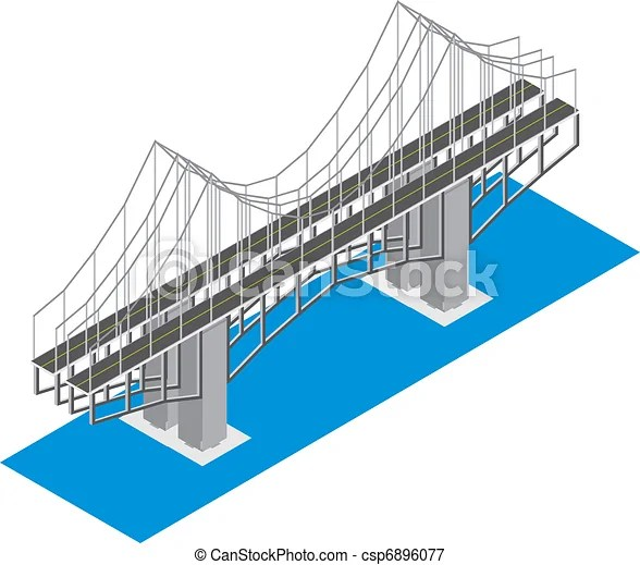 Isometric view of the bridge, isolated on a white background - isometric view