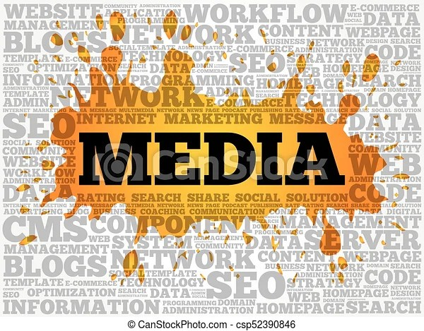Media word cloud collage, technology business concept eps vector