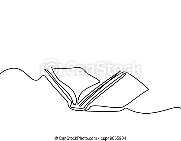 Opened book with pages isolated on white continuous line vector - opened book