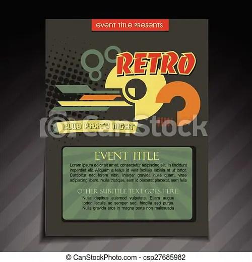 Retro brochure design Vector retro brochure flyer template