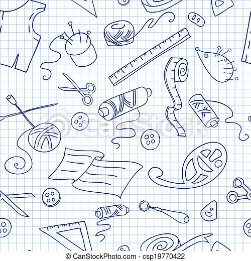 Seamless background with sketches of sewing tools vector - background sketches