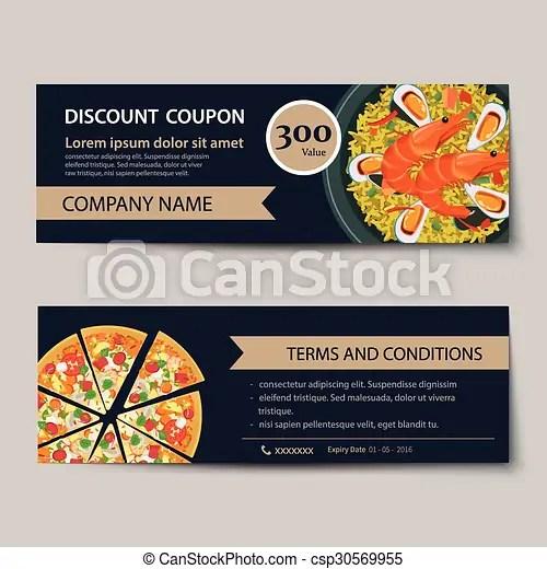 Set of food voucher discount template design clipart vector - Search - discount voucher design