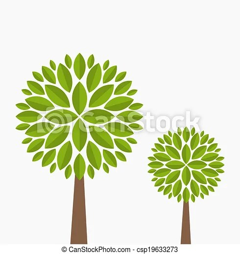 Trees isolated Two family trees vector illustration on white