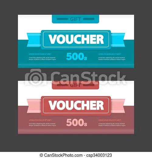 Two coupon voucher design gift voucher template with amount - discount voucher design