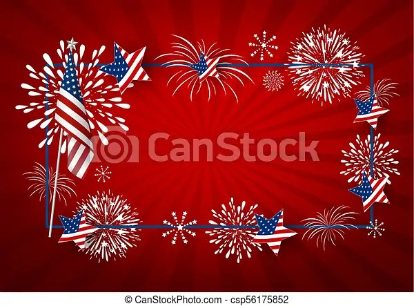 Usa background design of america flag and fireworks with line frame - America Flag Background