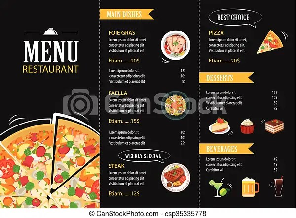 Vector restaurant cafe menu template flat design vectors - Cafe Menu Template