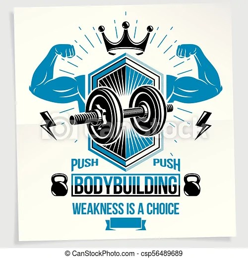 Weightlifting club promotion flyer vector composition created using