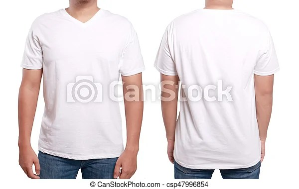 White v-neck shirt design template White t-shirt mock up, front and
