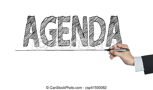Agenda written by hand, hand writing on transparent board, photo