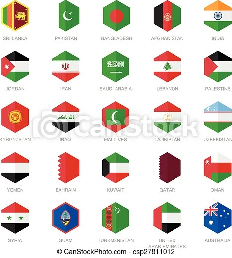 Asia middle east flag icons Asia middle east and south asia flag