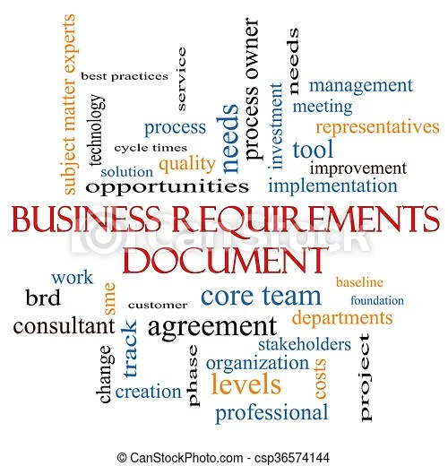 Business requirements document word cloud concept with great