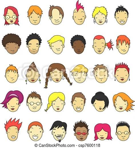Cartoon faces Collection of 30 cartoon faces for avatar
