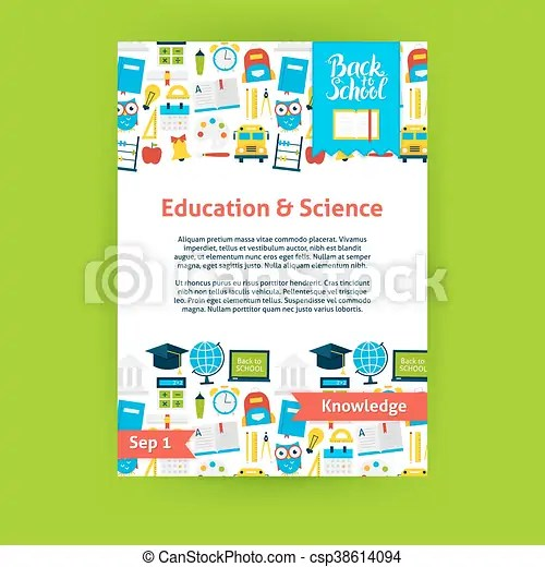 Education science poster template flat design vector illustration