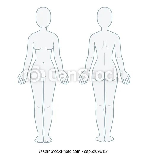 Female body front and back Female body front and back view blank