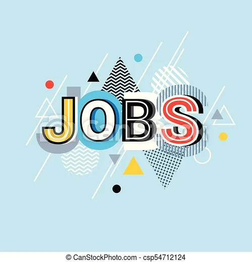 Jobs word creative graphic design modern business concept over