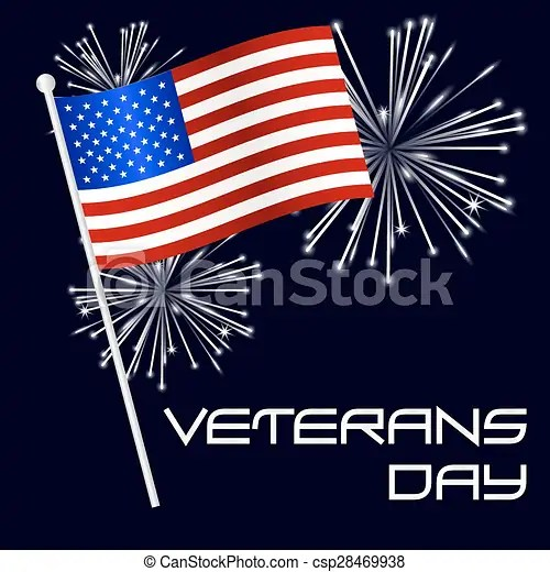 American veterans day celebration with flag and fireworks vectors