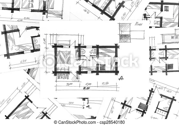 Architectural sketches a pencil as background Sketch pictures - background sketches