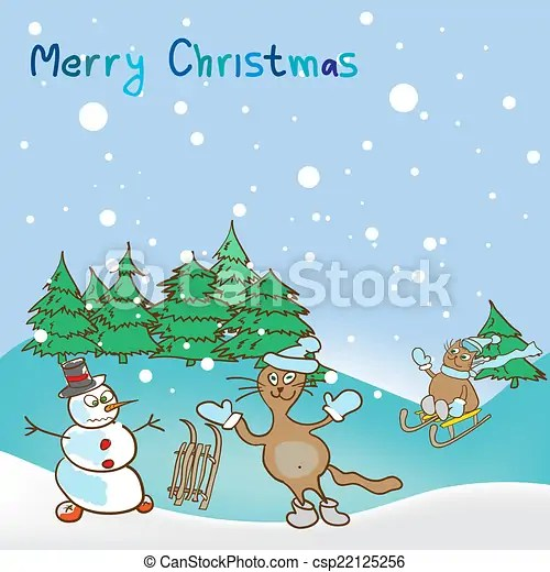 Background for a christmas theme with snowman and cats clipart - christmas theme background