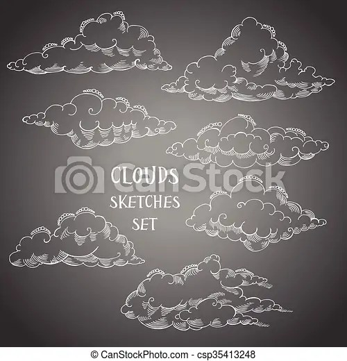 background with clouds sketches set hand drawn sky vector eps - background sketches