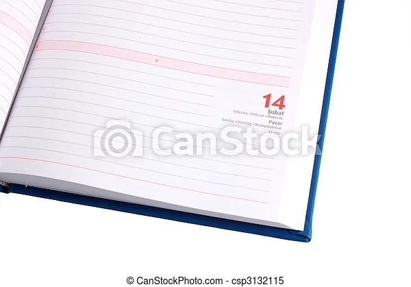 Blank diary page 14 february stock images - Search Stock Photos - blank diary page