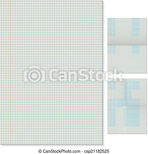 Blank lined page vector template with folded imitation vector - lined page
