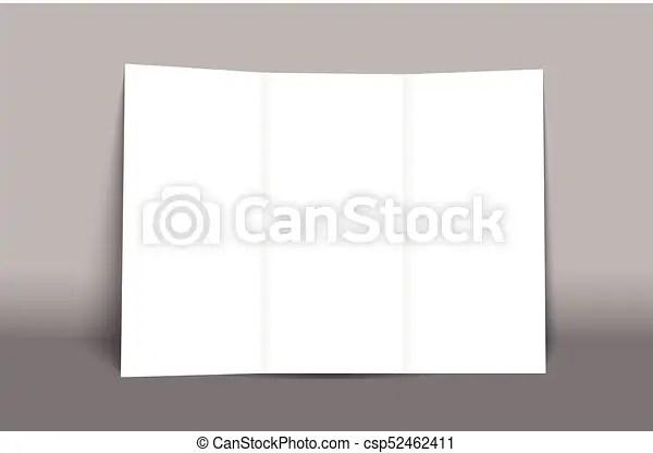 Blank tri fold brochure mockup cover template isolated vector clip - blank tri fold brochure template
