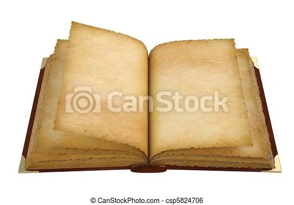 Old opened book with empty pages isolated on white - opened book