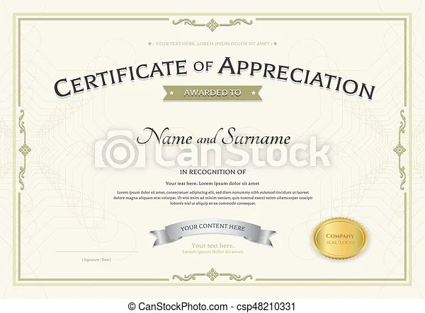 Certificate of appreciation template with silver award vectors - certificate of appreciation template