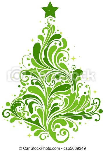 Christmas tree design featuring abstract swirls shaped like stock