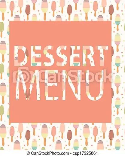 Dessert menu template vector illustration