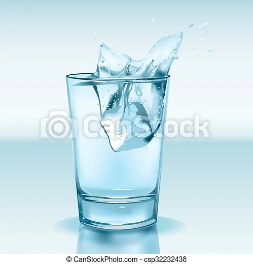 Glass with water and ice Vector illustration of a glass with water