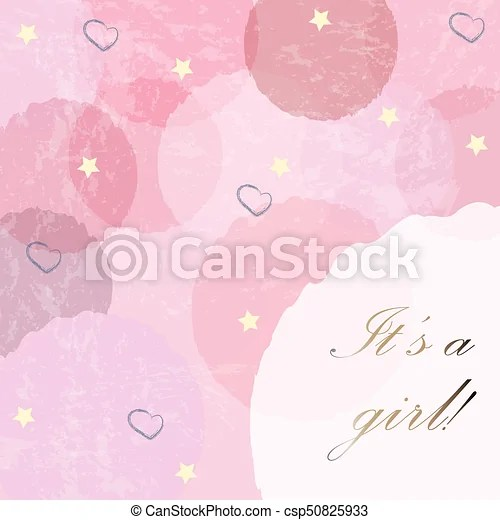 It\u0027s a girl modern card design with announcement of baby vectors
