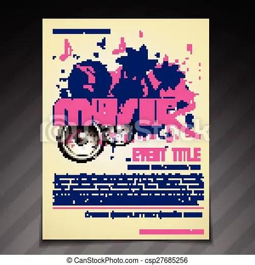 Vector music brochure flyer poster template design clipart vector - music brochure