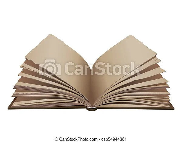 Retro vintage opened book wtih brown cover isolated on white - opened book