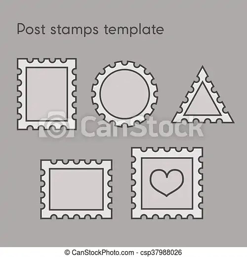 Vector set of post stamp template in line style vector illustration - stamp template