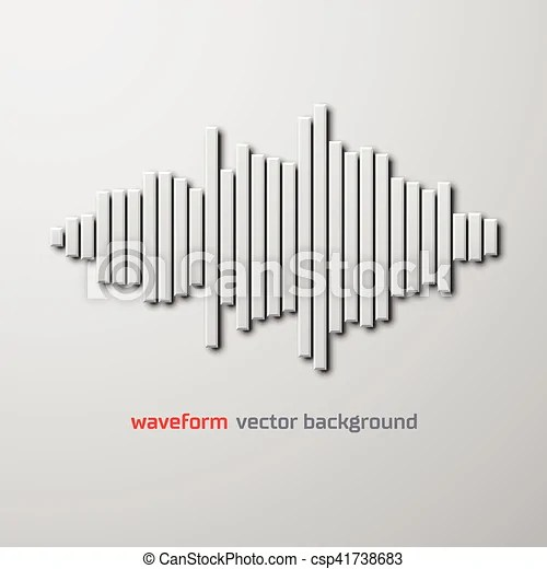 Silhouette of sound waveform with shadow Silhouette of vector